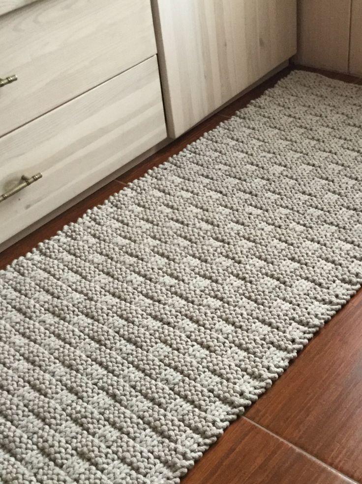 Knitted Carpet, Bath Mat, Hand Knitted Rag Rug, Cotton Carpet, Chunky Floor Rug, Bathroom Rug, Scatter Rug, Cotton Cord Rug, Rag Rug, by justknitted1 on Etsy