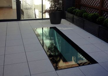 Walk on glass rooflight: in case we have a house with an unused flat roof --> make it in to a terrace by replacing the sky lights with walk on glass ones. Utilize all the space!