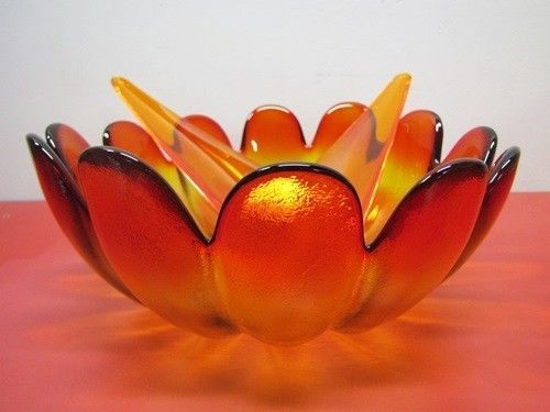 GORGEOUS - Vintage Indiana Glass 3pc Luau 2120 Sunset Salad Set - New Old Stock! - EBay price $69.99 + S/H