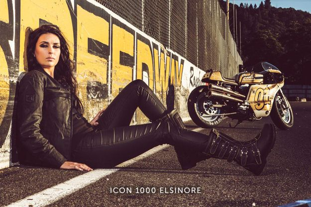 Icon 1000 Elsinore women's motorcycle boots. These boots rock. They're sexy, safe and bad ass. Mine has 3k+ miles on them from one season and they broke in, perfectly.