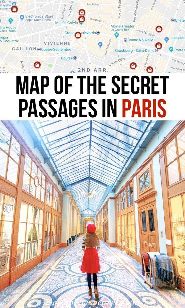 Karte der geheimen passagen von paris