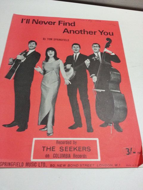 I'll never find another you, The Seekers, Columbia records, vintage music sheet, by LaMaidenenNoire on Etsy