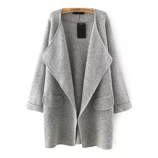 SheIn(sheinside) Grey Lapel Long Sleeve Loose Sweater Coat ($29) ❤ liked on Polyvore featuring grey