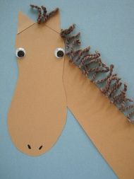 Foot Print Horse; Variation I think will work--roll six sheets of newspaper diagonally around a pencil, remove pencil and tape closed. Use double stick tape to attach fringe to the newspaper, tape completed head to newspaper and have a horse race!