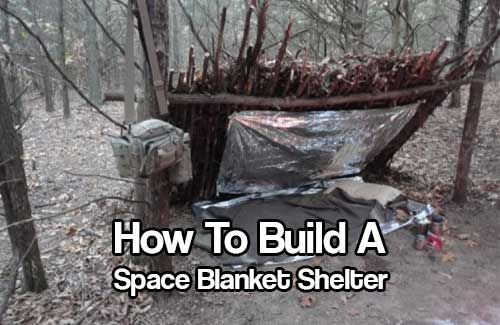 How To Build A Space Blanket Shelter - Here is a quick, easy and warm shelter that can be built in a survival situation that could potentially save your life (or at least make your night more comfortable). The roof is lined with a aluminised mylar space blanket and a light weight plastic sheet over the front and sides. Even on the coolest of nights, with snow all around, temperatures inside the shelter can reach up to 70 degrees!