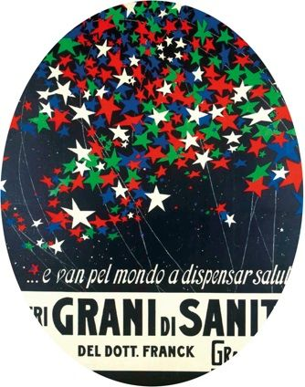 Grani di Sanità.  For decades, the art of réclame has represented the evolution of Italian fashion and culture. Posters, often made by great artists, have been the main channel of advertising before the arrival of television. Today, thanks to the work of these artists, we can enjoy composite solutions, so elegant, refined, and timeless. Title: I veri grani di sanità del Dottor Franck, 1910-1920. Property: Civica Raccolta di stampe Achille Bertarelli, Castello Forzesco, Milano