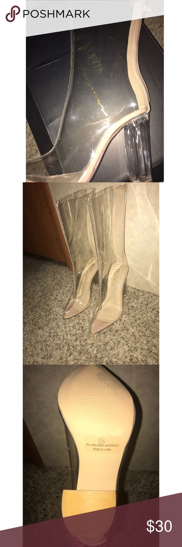 Clear high heel boots Size 7 1/2. Perfect condition never wore. Very trendy. I love them but they don't fit me :( madrag Shoes Heeled Boots