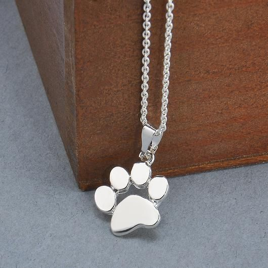 Silver Plated Dog Paw Necklace - Square Berry Co