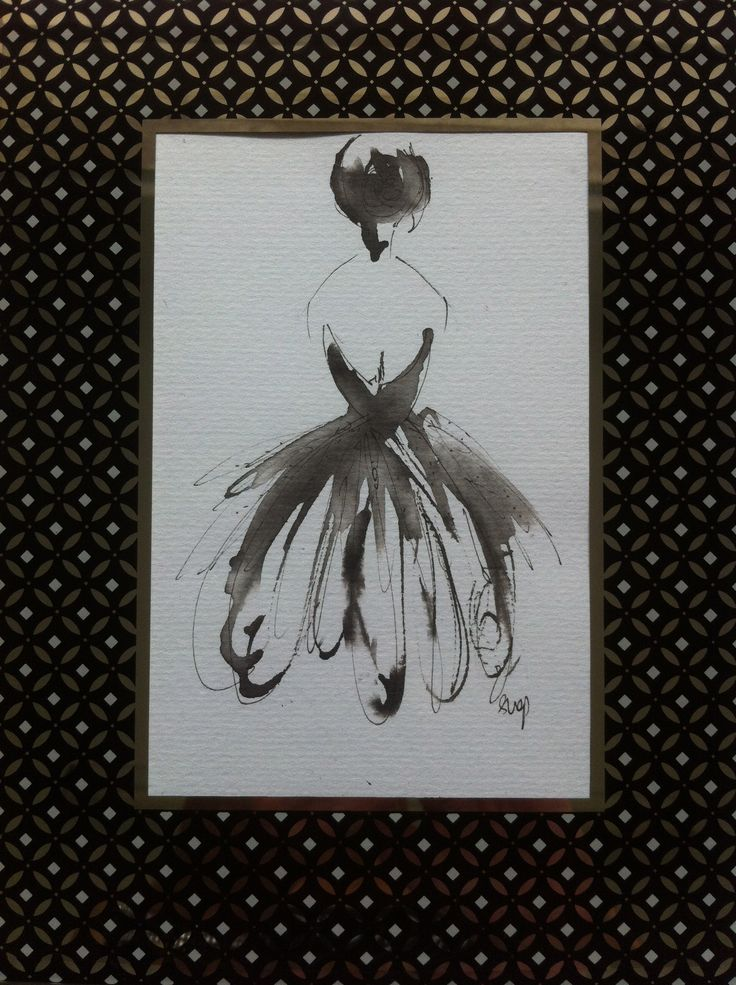 """Lady Stephanie"" - original pen and ink painting. To see more fashion artworks follow me on Facebook as Miss FrockStar"