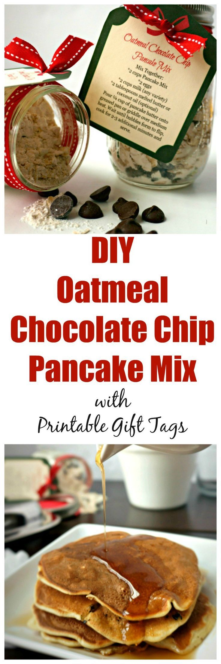DIY Oatmeal Chocolate Chip Pancake Mix with Printable Gift ...