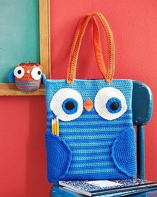 crochet owl book bag