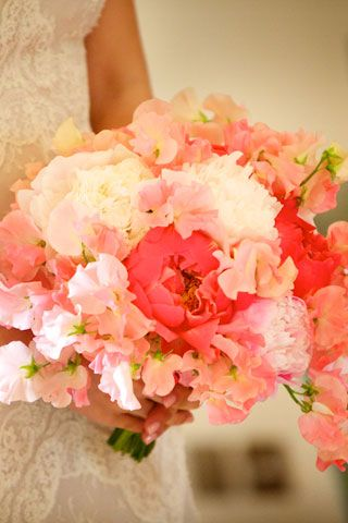 sweet peas and peonies - summer bouquet