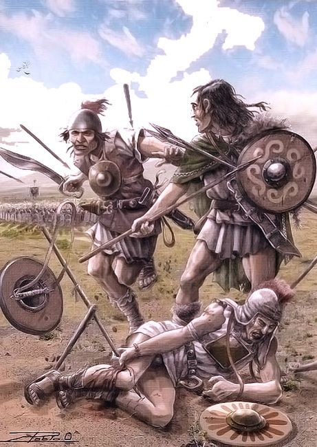 Celtiberian warriors - Pablo Outeiral: Along the Iberian Penninsula's Mediterranean coast, rivalry between Rome and Carthage for control of the Spanish ports exploded into the Second Punic War. The Carthaginians controlled most of Spain bar the northwest, and Celtiberian mercenaries provided some of their fiercest warriors.