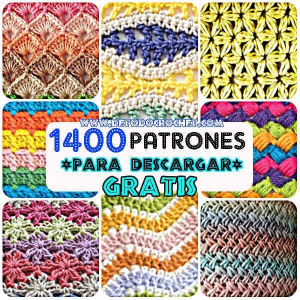 puntos con patrones crochet y dos agujas