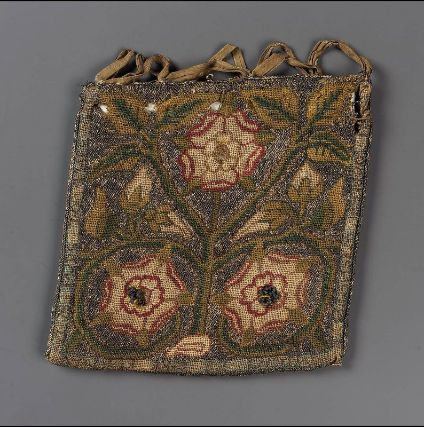 Drawstring bag. English, 1575–1650 England. Dimensions:  Overall (without ribbon): 13 x 13 cm (5 1/8 x 5 1/8 in.)  Medium or Technique: Linen; plain weave embroidered with silk, silver metallic threads, and metal purl; silk ribbons