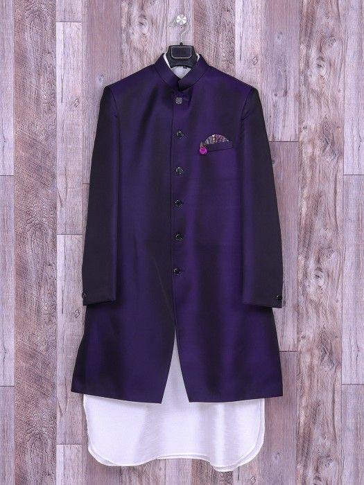 Terry Rayon Plain Purple White Hue Wedding Wear Indo Western, purple color, wedding, groom, plain, terry rayon