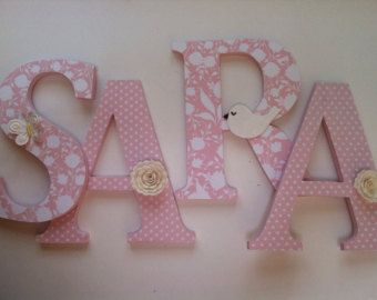 Wooden letters for nursery in pink and gray by SummerOlivias