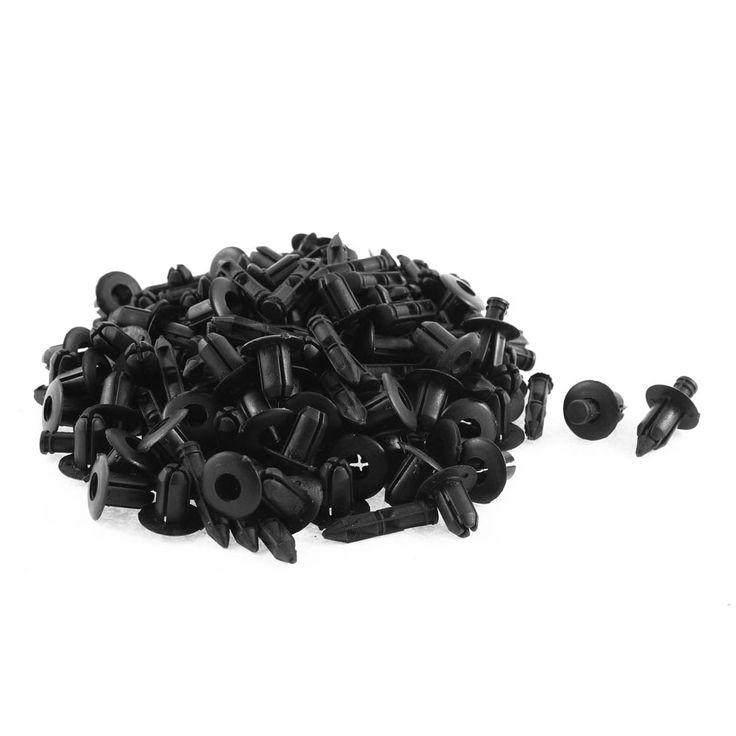Unique Bargains 100 Pcs Black Plastic Moulding Fastener Rivet Clip for 7mm Hole