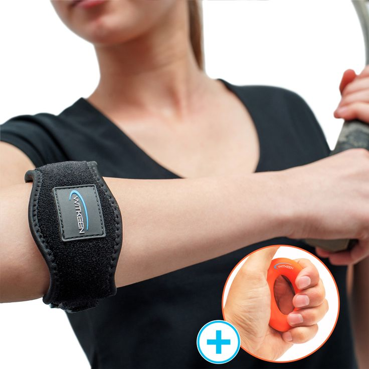 Premium Bundle with Best Tennis Elbow Support and 100% Silicone Hand Gripper for Man and Women - Arm Strap that Provides Relief from Elbow Tendonitis and Prevent Treatment - Adjustable Elbow Brace also for Weightlifting - Exercises E-Guide Bonus