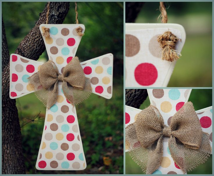 Wooden cross door hanger with polka dot fabric and burlap bow