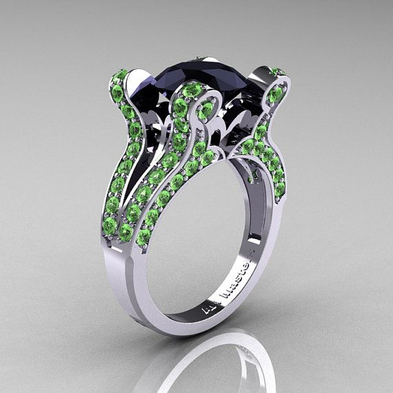 French Vintage 14K White Gold 3.0 CT Black Diamond Green Topaz Pisces Wedding Ring Engagement Ring Y228-14KWGGTBD