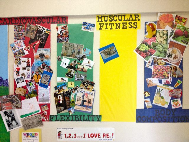 Fitness Components Bulletin board. Have the kids bring in photos that fit into each category.
