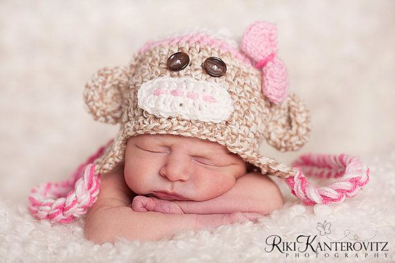 love the hat: Baby Monkey, Baby Girl Hats, Bows Ties, Newborns Baby, Ties Clip, Monkey Hats, Socks Monkey, Baby Girls Hats, Baby Hats