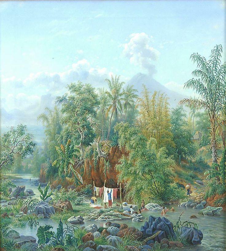 Olieverfschildering voorstellend de Brantas rivier te Malang door M.E.H.R. van den Kerkhoff,