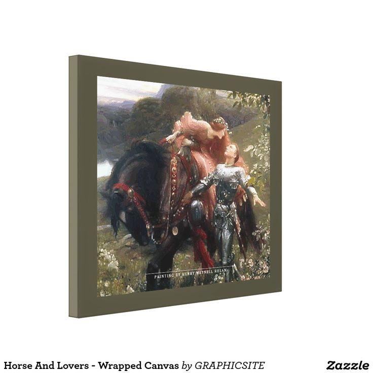 Horse And Lovers - Wrapped Canvas #horses, #medieval, #knight, #oilpainting, #artprint, #kiss, #love, #lovers,