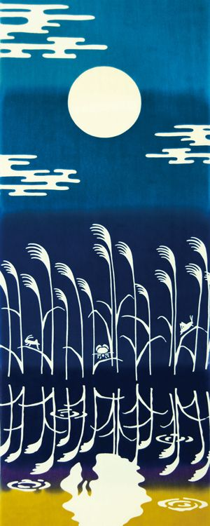 Japanese washcloth, Tenugui 手ぬぐい 水面月見 The moon reflected in the water.
