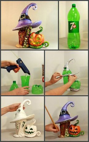 Best 12 fairy houses from bottles. #DIY YouTube Video (In Spanish - Skill ...