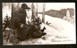 k2. Latvia Merry Christmas & Happy New Year Greetings Old Photo postcard - Santa Claus with presents winter | For sale on Delcampe