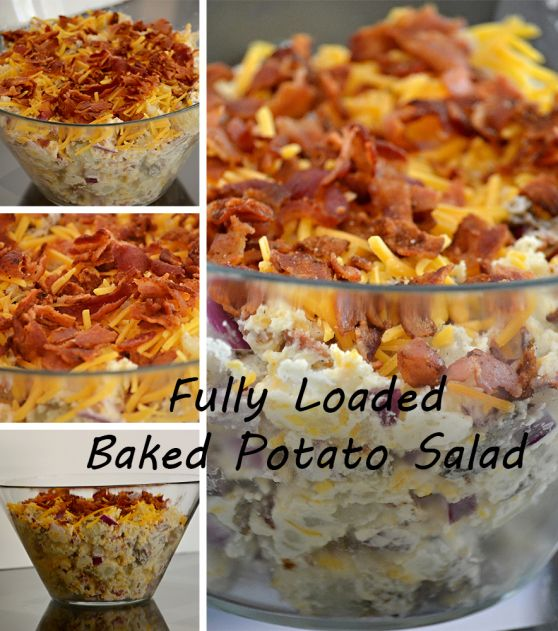 Fully loaded baked potato salad - updated recipe, perfect for BBQs, family gatherings, 4th of July. Make ahead and serve hot or cold! BACON!
