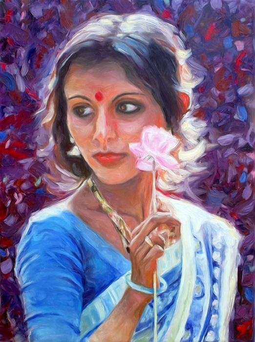 Young Indian woman with paper flower - by Peter Kupcik