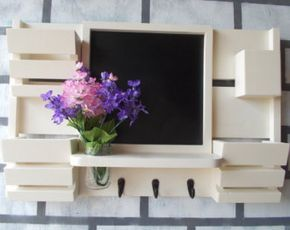 Chalk Board 3 Slot Mail Organizer--Large Message Center--Wall Decor--Entry Way Decor-- 3 Key Hooks