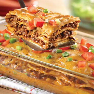 This Mexican Lasagna recipe can be made ahead of time. If it is refrigerated, add at least 15 minutes to the cooking time to make sure it is heated all of the way through. Serve with a side of rice and beans.