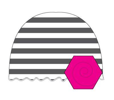 vintage hat: stripe/hot pink flower