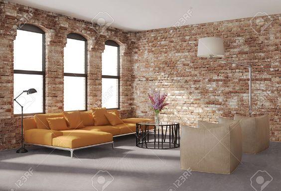 Eigentijdse Stijlvolle Loft Interieur, Bakstenen Muren, Oranje Bank Royalty-Vrije Foto, Plaatjes, Beelden En Stock Fotografie. Image 20685112.