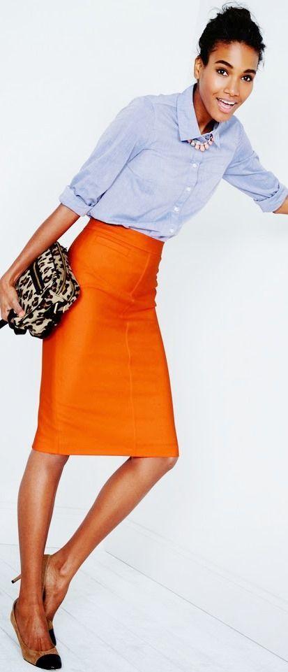 Orange pencil skirt and light blue button down...neutral flats