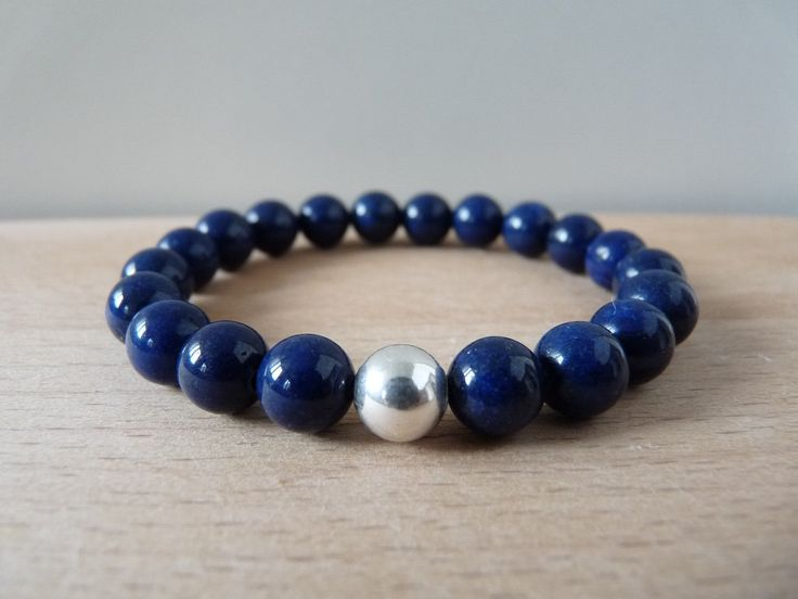 Jadeite jade dark blue bracelet 8mm beads, gemstone bracelet jewelry, stretch beaded bracelets mala energy reiki chakra healing jewelry by nkcraftstudio on Etsy