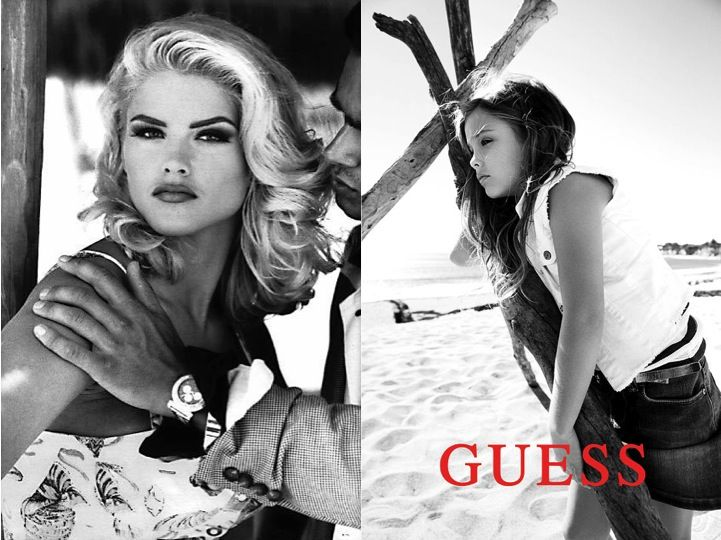 Anna Nicole and daughter Dannielynn Models for GUESS