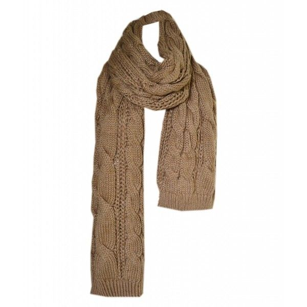 Winter Scarf Brown Chunky Cable Knitted ❤ liked on Polyvore featuring accessories, scarves, chunky scarves, brown shawl, cable knit shawl, brown scarves and cable knit scarves
