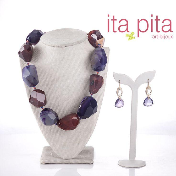¡Collares con piedras naturales para que tengas los mejores accesorios!  Collar piedra natural agata anudado – Aretes amatista.
