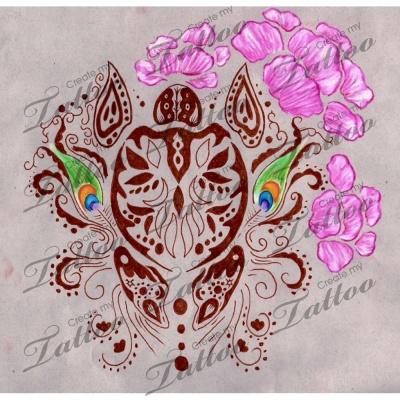 Indian Henna Inspired Turtle Collage Tattoo | Indian Henna 4 #12116 | CreateMyTattoo.com