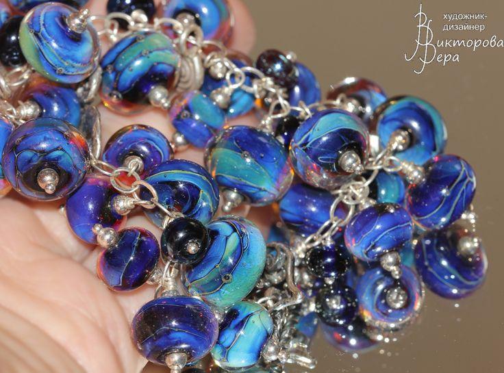"""браслет """"Шептание моря"""", стекло ручной работы от Веры Викторовой, стерлинговое серебро. bracelet """"Whispering sea """", handmade glass from Vera Viktorova, sterling silver"""