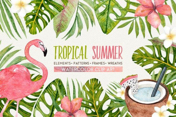 TROPICAL SUMMER watercolor set By Smolova