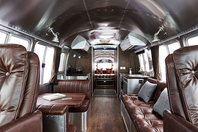 Note from TeamMona: Love this Airstream motorhome re-do that calls to mind the luxe airport lounges in the heyday of air travel. airstream-motorhome-310-01