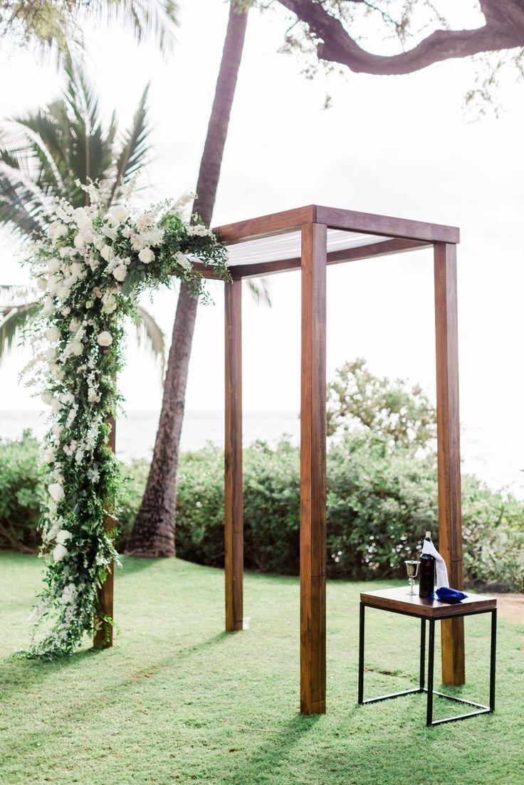 Dark Walnut Wedding Arch — Signature Boutique Event Rentals Maui, Hawaii