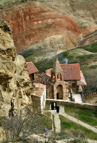 David Gareja is a rock-hewn Georgian Orthodox monastery complex located in the Kakheti region of Eastern Georgia, on the half-desert slopes of Mount Gareja.