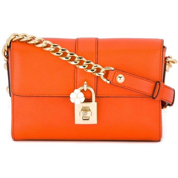 Dolce & Gabbana Pochette (2,345 CAD) ❤ liked on Polyvore featuring bags, handbags, shoulder bags, orange, shoulder bag purse, leather shoulder bag, real leather handbags, leather shoulder handbags and orange handbags